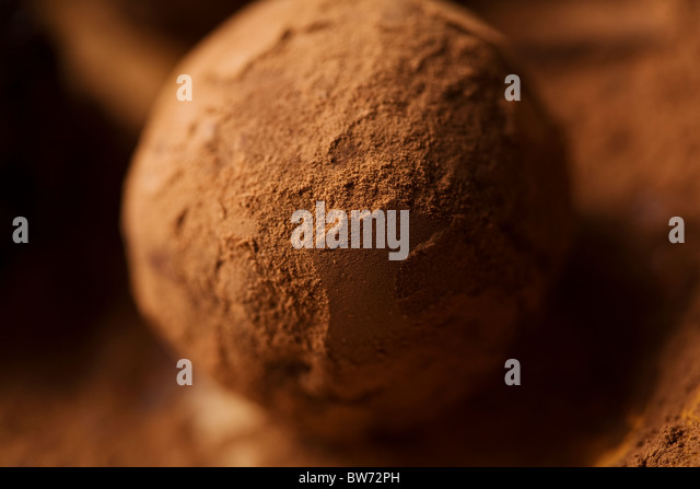 closeup of rum truffle, shallow dof - Stock Image