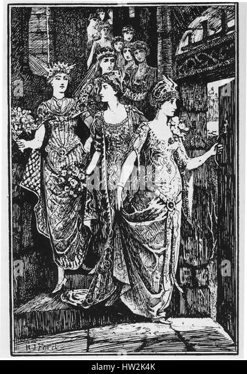 THE TWELVE DANCING PRINCESSES. Fairy tale collected by the Brothers Grimm.  Illustration by H.J.Ford from an 1890 - Stock-Bilder