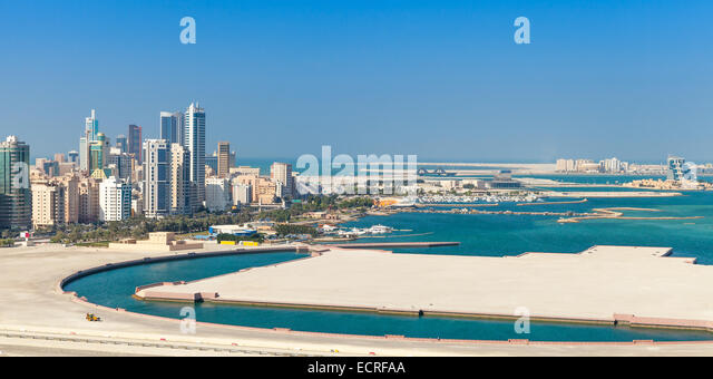 Bird view panorama of Manama city, Bahrain. Skyline with modern skyscrapers on the coast of Persian Gulf - Stock Image