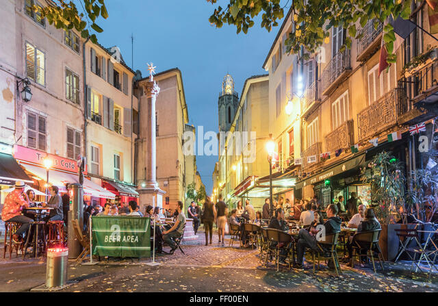 Place des Augustins in Vieil Aix the old quarter of Aix en Provence, Bouches du Rhone, Provence, France - Stock Image