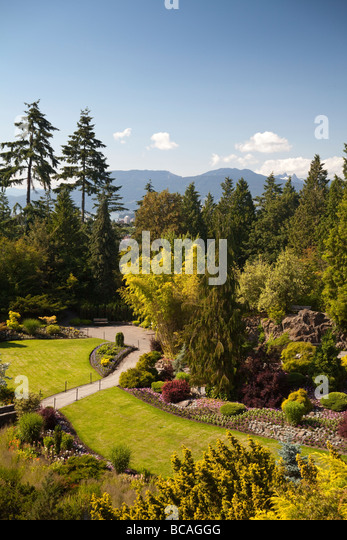 large quarry Garden at Queen Elizebeth Park, Vancouver, BC, Canada - Stock Image