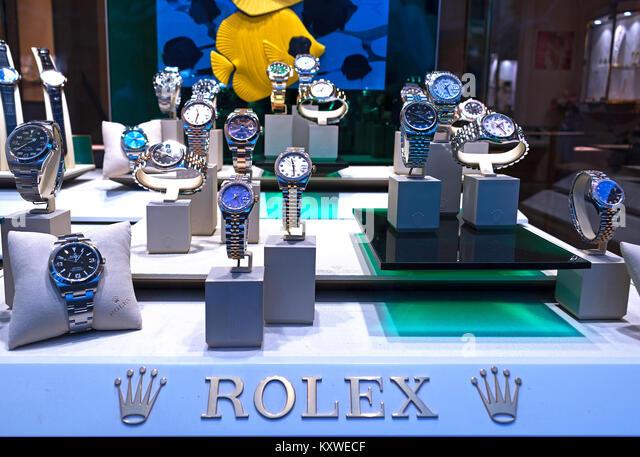 shop window display of rolex watches - Stock Image