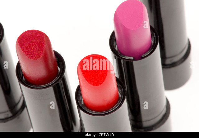 Different shades of lipstick - Stock Image