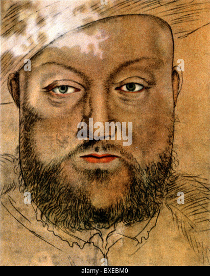 Sketch by Hans Holbein the Younger; Portrait of King Henry VIII of England, Colour Illustration; - Stock-Bilder