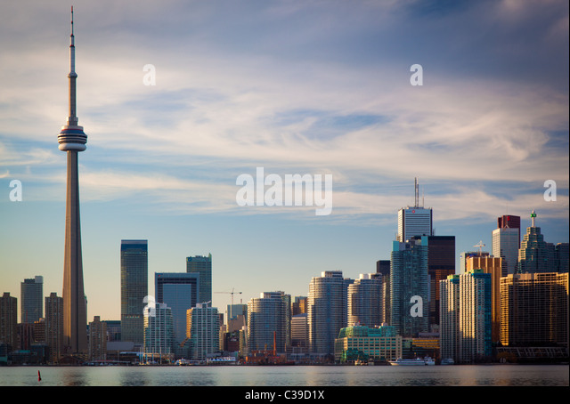 Downtown Toronto skyline, including CN Tower and Rogers Center, as seen in the late afternoon - Stock Image