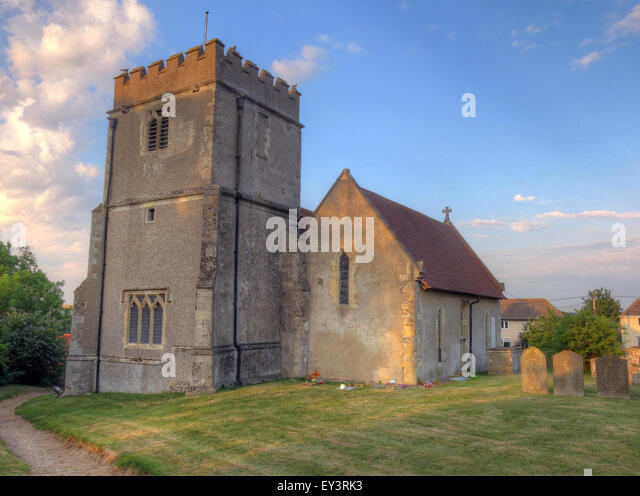 St Mary Church, East Ilsley,Berkshire,England,UK in the evening - medieval stone construction - Stock Image