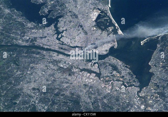 World Trade Center attack, New York as viewed from space - Stock Image