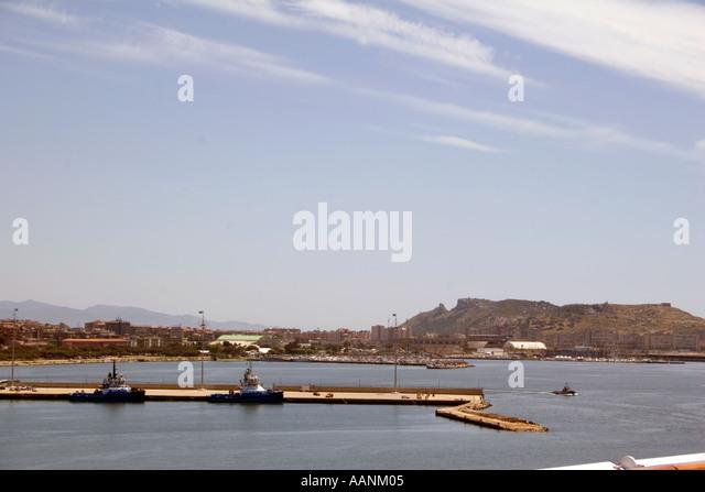 Cagliari Harbour and the so called Devil's Saddle, Sardinia, - Stock Image