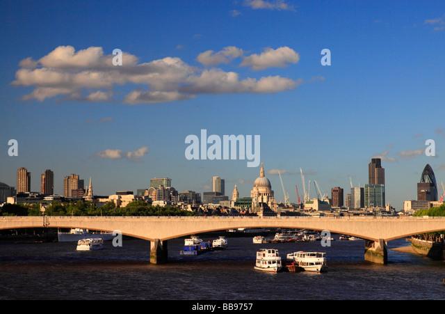 London skyline and Waterloo Bridge, London, England, UK - Stock Image