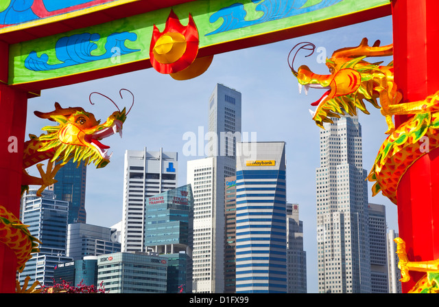 City skyline and Financial district, Singapore, Southeast Asia, Asia - Stock Image