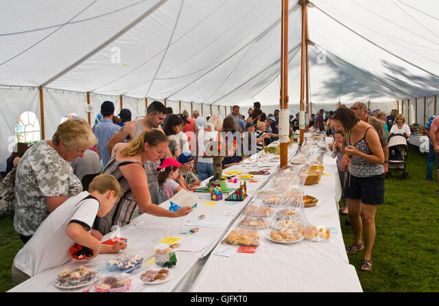 People looking at exhibits in the produce marquee at Llanthony Show near Abergavenny Monmouthshire South Wales UK - Stock Image