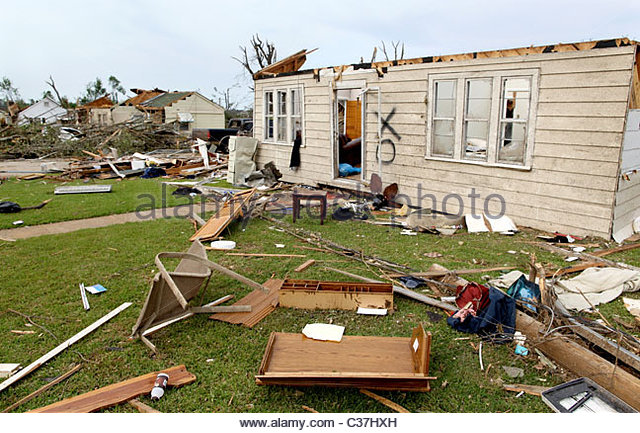 Debris litters the landscape in Alberta, Alabama, United States May 1, 2011 after a massive tornado earlier in the - Stock Image