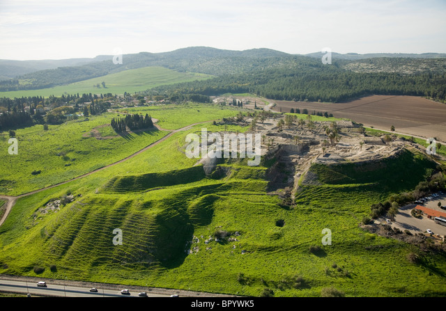 Aerial photograph of the archeology site of mound Megidoin the Jezreel valley - Stock Image