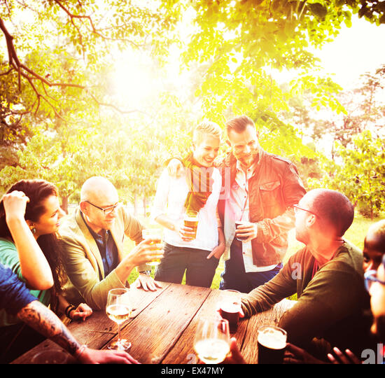 Friend Celebrate Party Picnic Joyful Lifestyle Drinking Concept - Stock-Bilder