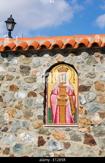 Entrance to Stavrovouni Monastery, Cyprus. - Stock Image