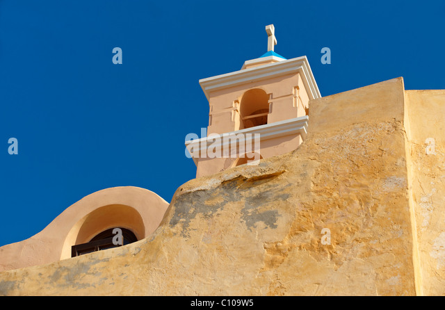 Bell tower of the Catholic church of Ano Syos, Syros [ ????? ] , Greek Cyclades Islands - Stock-Bilder