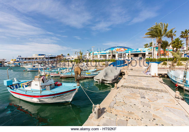 Fishing Boats in harbour at marina in resort town at Ayia Napa in Cyprus - Stock Image