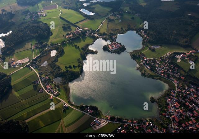 Aerial view, Seeon Abbey, Chiemgau, Upper Bavaria, Germany, Europe - Stock Image