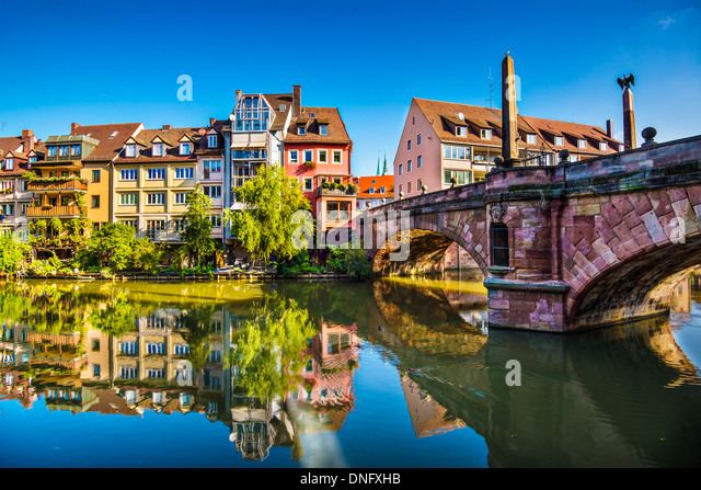 Nuremberg, Germany old town on the Pegnitz River. - Stock Image