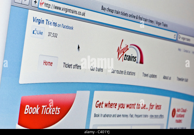Close up of the Virgin Trains logo as seen on its website. (Editorial use only: ­print, TV, e-book and editorial - Stock Image