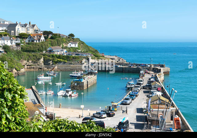 fishing boats in the harbour at newquay, cornwall, england, britain, uk - Stock Image