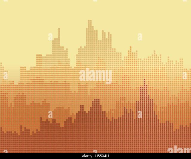 Mosaic composition of the city, the gradient effect. - Stock Image