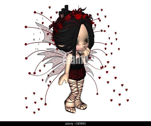 Cute Toon Valentine Fairy - 1 - Stock Image