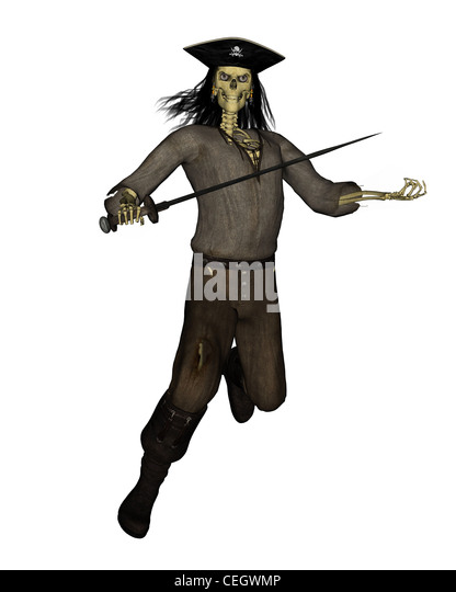 Undead Pirate Skeleton - 2 - Stock Image
