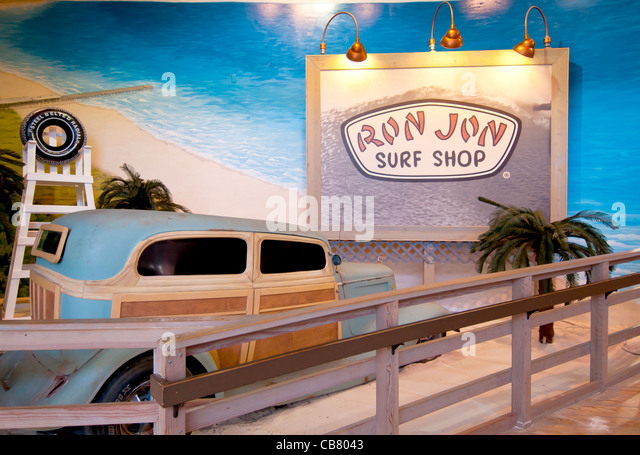 Ron Jon Surf Shop interior with old woodie station wagon at Festival Bay Mall on International Drive, Orlando Florida - Stock Image
