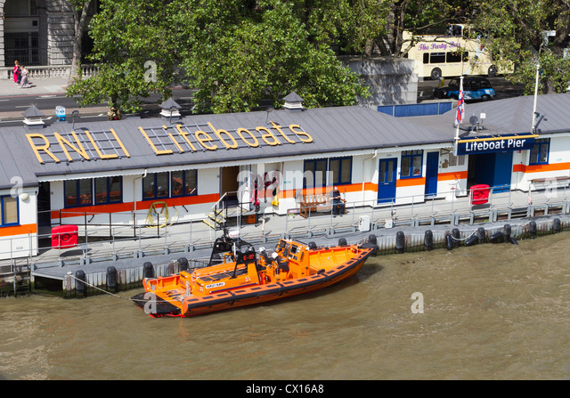 RNLI Lifeboat station, River Thames, London, England, UK - Stock Image