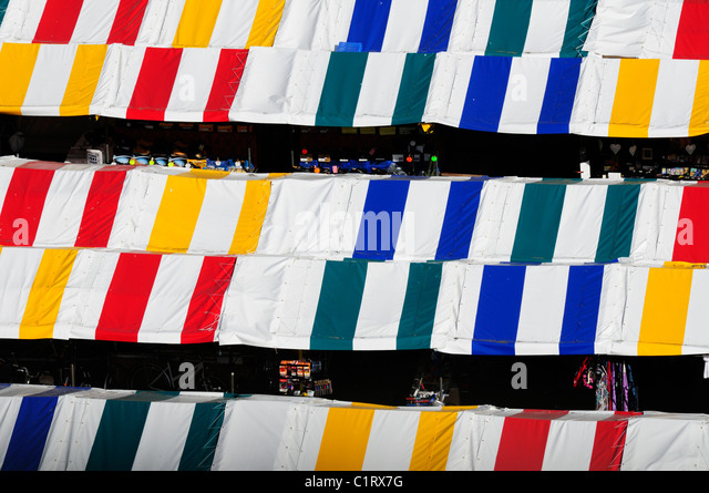 Abstract Detail of Market stalls viewed from Great St Mary's Church Tower, Cambridge, England, UK - Stock Image