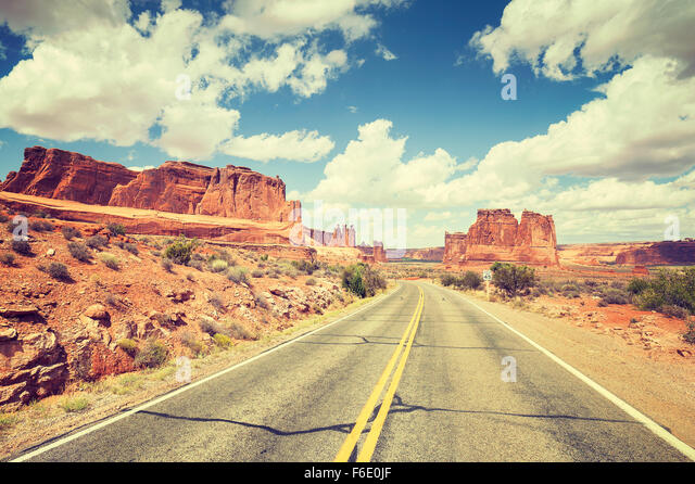 Vintage toned scenic road, travel concept picture, USA. - Stock-Bilder
