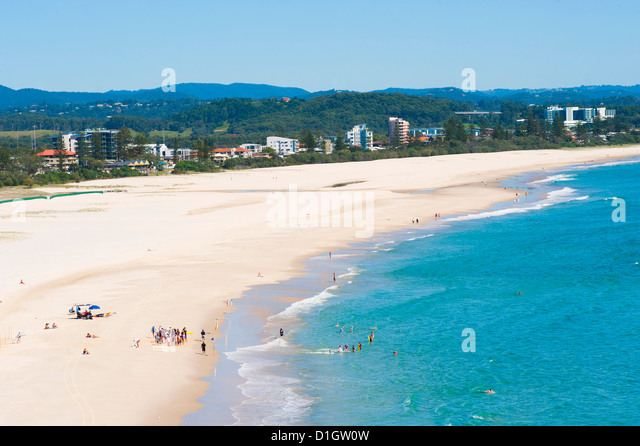 Surf school on Coolangatta Beach, Gold Coast, Queensland, Australia, Pacific - Stock Image