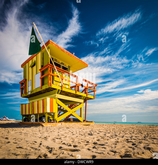 Miami, Florida on Miami Beach at a lifeguard tower. - Stock-Bilder