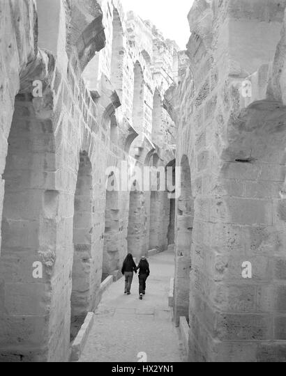 Interior of the El Jem Colosseum in Central Tunisia, North Africa - Stock Image