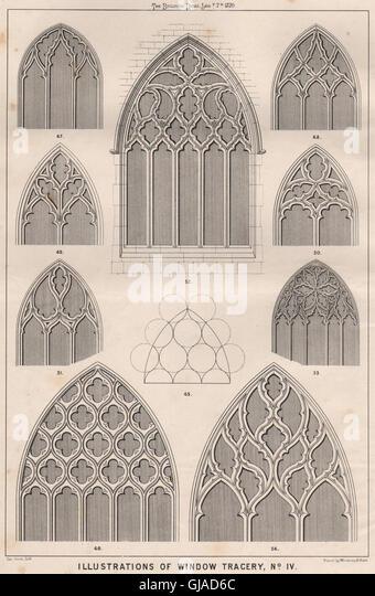 Illustrations of window tracery, No. IV . Decorative, antique print 1870 - Stock Image