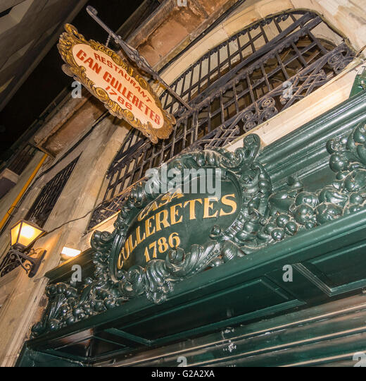 Restaurant Can Gulleretes, 1786, Barcelona, Spain - Stock Image