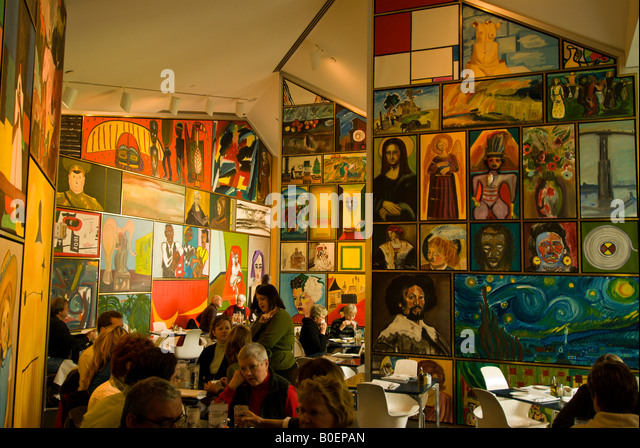 Kemper Museum of Contemporary Art cafe diners wall paintings Kansas City Missouri MO, - Stock Image