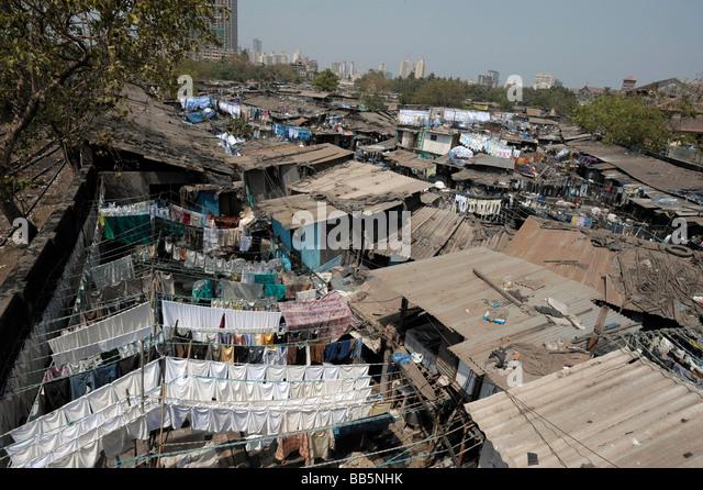 View of Dhobi Ghats with Mumbai skyline in the background - Stock-Bilder