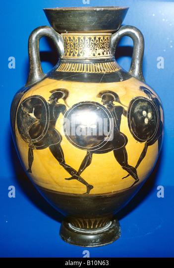 athletes Greek painting vase shield helmet running - Stock-Bilder