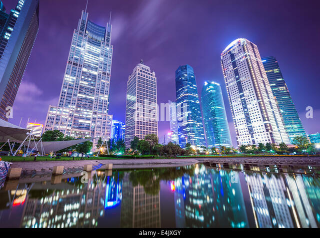 Shanghai, China cityscape from Binjiang Park. - Stock Image