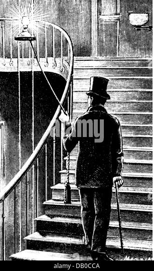 energy, researchers and inventors, while elevating the lodger is enlightening his thoughts, wood engraving, by Massias, - Stock Image