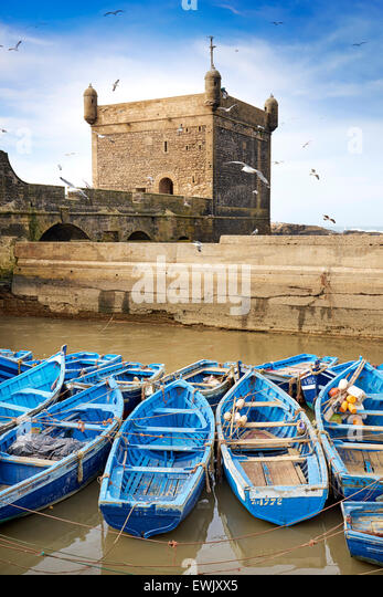 Blue fishing boats in the harbour of Essaouira, Morocco, Africa - Stock-Bilder