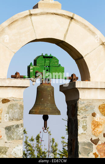 Detail of bell from the church of All Saints at Stavrovouni monastery, Cyprus. - Stock Image