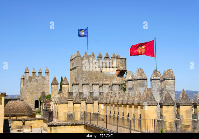 Almodóvar del Río, Cordoba, Andalucia, Spain The castle's architecture style is Gothic-Mudejar - Stock Image