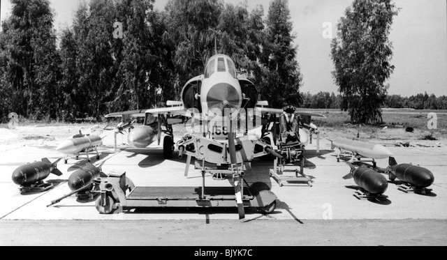 Israeli Air Force Dassault Mirage IIICJ fighter plane on the ground during maintenance - Archival Black and white - Stock Image