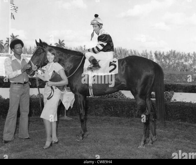 Seattle Slew with owner Karen Taylor, Hialeah Race Track1977 - Stock Image