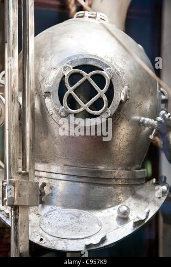 corroded vintage WW II Navy Diving helmet sprayed silver displayed in Bergdorf Goodman 2010 Fantastic Voyages Christmas - Stock Image