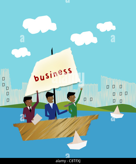 Businessmen In Sailing Boat - Stock Image