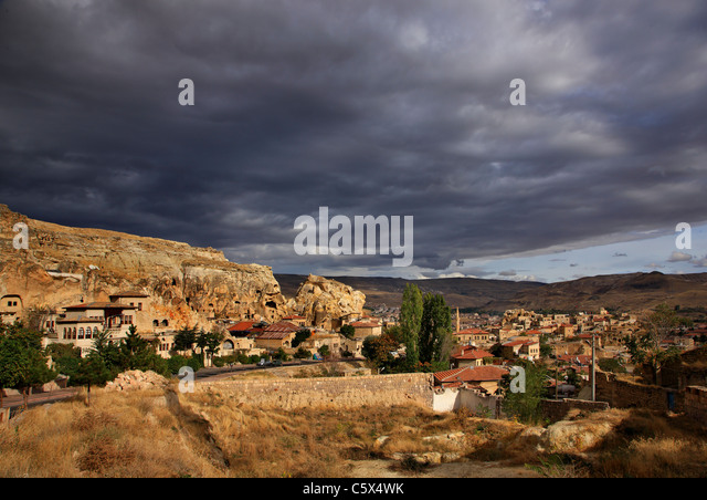 Photo from Urgup town, where you can see part of the old troglodyte settlement. Nevsehir, Cappadocia, Turkey. - Stock Image